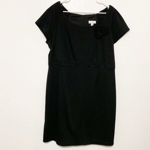 Fashion Bug Black Short Sleeve Dress Flower Accent
